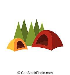 tent., vecteur, camping, illustration