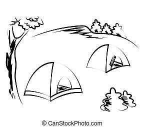 tente, sketch., blanc, touriste, camping., arrière-plan., vecteur