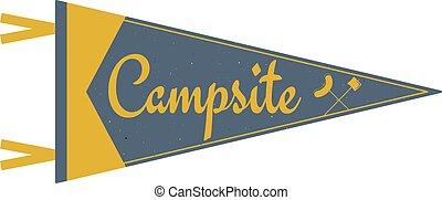 tente, terrain camping, camp, design., vieux, symboles, pennant., camping, été, arbres., drapeau, fanion, template., ou, explorateur, aventure, vendange, style, voyage, camping