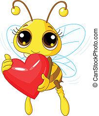 tenue, aimez coeur, abeille, mignon