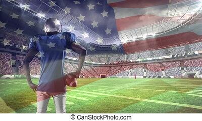 tenue, américain, composition, joueur, football, balle rugby