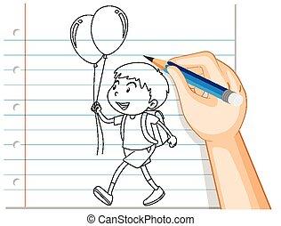 tenue, balloon, main, garçon, écriture