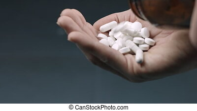 tenue, blanc, pilules, beaucoup, drogue