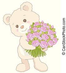 tenue, bouquet, carte, style, peu, rose, valentines, roses, jour, ours peluche, mignon, vendange, illustration