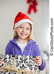 tenue, cadeau, santa, girl, chapeau, noël