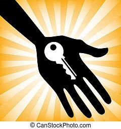 tenue, clef maison, main, design.