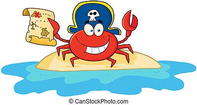 tenue, crabe, carte pirate, trésor