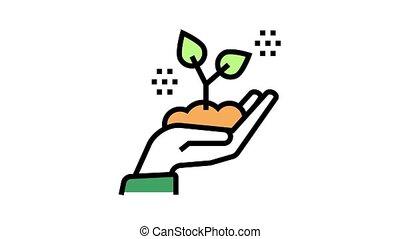tenue, croissant, main, icône, animation, couleur, plante