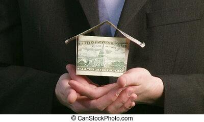 tenue, dollars, maison, homme affaires