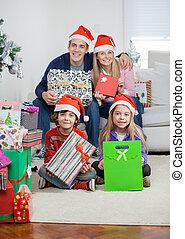 tenue, famille, chapeaux, dons, santa, noël