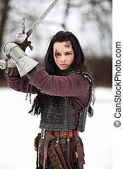 tenue, femme, épée moyen age, déguisement