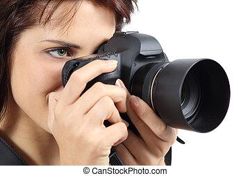 tenue femme, appareil-photo numérique, photographe, beau