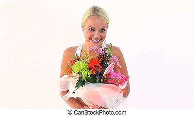 tenue, femme, blond, fleurs