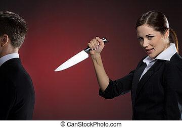 tenue femme, business, couteau, complet, jeune homme, sourire, mal, debout, dos, formalwear, elle, partner.