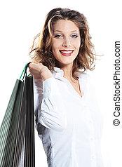 tenue femme, contre, sacs provisions, fond, blanc