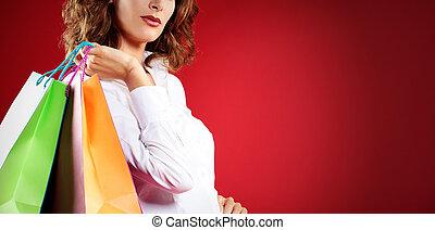 tenue femme, contre, sacs provisions, fond, rouges
