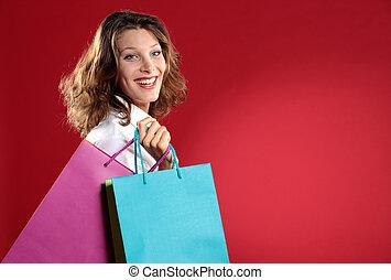 tenue femme, contre, sacs provisions, fond, sourire, rouges