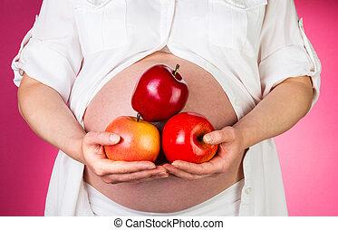 tenue femme, pommes, arrière-plan., pregnant, rose