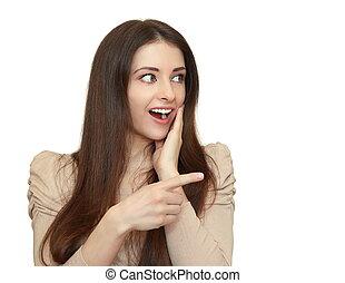 tenue femme, surprenant, espace, projection, isolé, figure, bouche, doigt, fond, blanc, ouvert, vide
