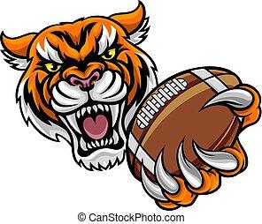 tenue, football américain, tigre, balle