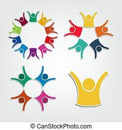 tenue, gens, circle., collaboration, logo, groupe, personnes