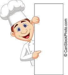 tenue, heureux, chef cuistot, vide, dessin animé, si