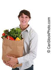 tenue, jeune homme, sac, sourire, épicerie, sain