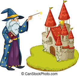 tenue, livre, baguette magique, magicien, château, devant