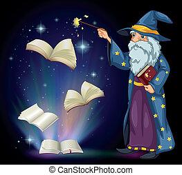 tenue, livre, vieux, magicien, baguette