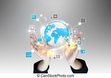 tenue, média, réseau, social, main, concept