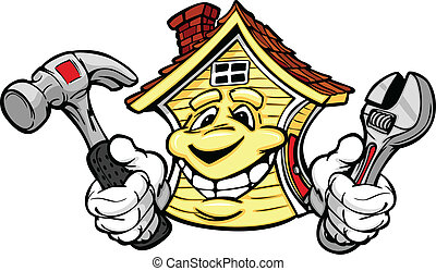 tenue, maison, réparation, outils, heureux