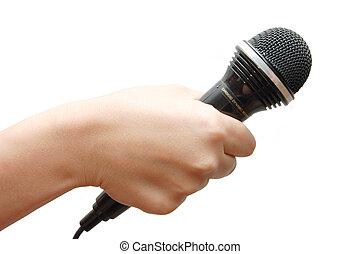 tenue, microphone, fond, main femme, blanc