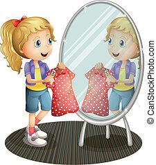 tenue, miroir, devant, girl, robe, rouges