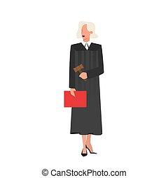 tenue, noir, juge, femme, robe, traditionnel, porter, dossier, cas