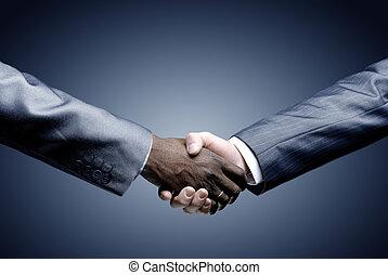 tenue, noir, -, poignée main, main