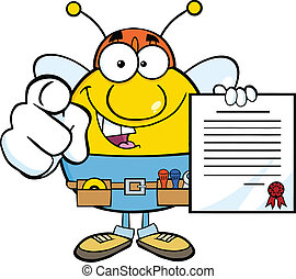 tenue, ouvrier, pudgy, contrat, abeille