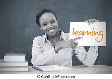 tenue, page, heureux, prof, projection, apprentissage