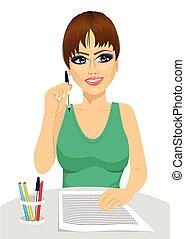 tenue, pensée, secrétaire, séduisant, crayon, concept