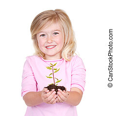 tenue, plante, enfant