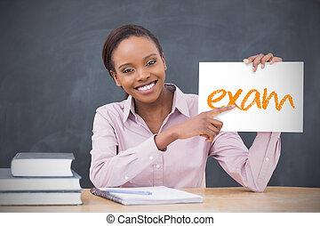 tenue, projection, prof, examen, page, heureux