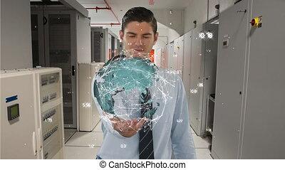 tenue, sien, la terre, données, main, numérique, homme affaires