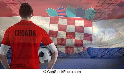 tenue, stade, joueur, croate, football, devant, balle