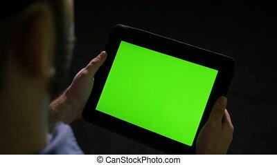tenue, tablette, écran, pc, arrière-plan vert, noir
