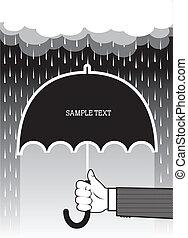 tenue, texte, rain., main, fond, grand, sous, vecteur, parapluie