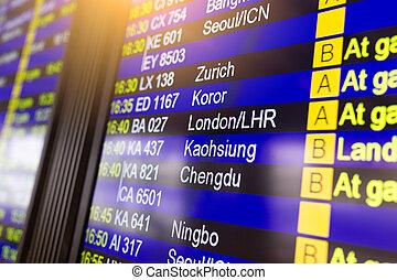 terminal, aéroport, planche, départs, exposer