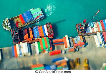 terminal., décalage, bateaux, récipients, port, kong., hong, cargaison, inclinaison