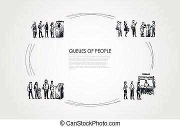 terminal, gens, leur, attente, files attente, distributeur billets banque, payant, embarquement, ensemble, -, ligne, vecteur, virage, concept