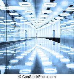 terminal, hall., aéroport, contemporain