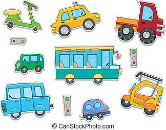 terre, autocollants, véhicules