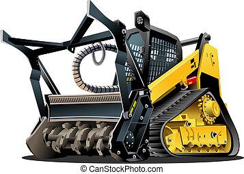 terre dégagement, vecteur, dessin animé, mulcher